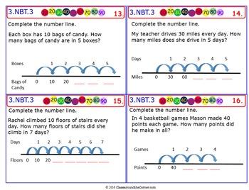 3.NBT.3 Math 3rd Grade NO PREP Task Cards—MULTIPLES OF TEN PRINTABLES
