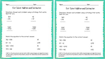 3.NBT.A.2 Addition and Subtraction Exit Ticket