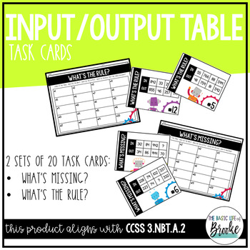 3.NBT.A.2 - Input/Output Table Task Card Set using Addition & Subtraction
