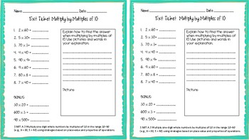3.NBT.A.3 Multiply by Multiples of 10 Exit Ticket