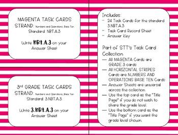 3.NBT.A.3 One-Digit x Multiples of Ten Task Cards