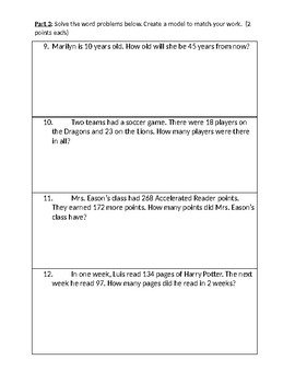3.NBT Adding, subracting, place value, and rounding quiz EDITABLE GMAS