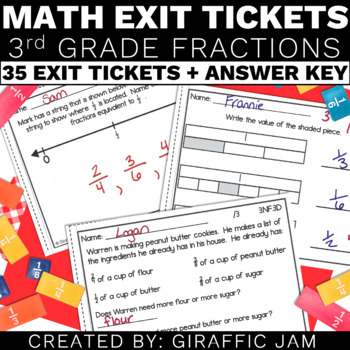 3rd Grade Math Exit Tickets for Every NF Standard