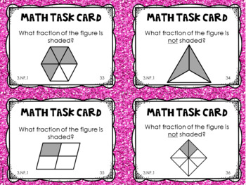 3.NF.1 3rd Grade Math Task Cards (Understanding and Identifying Fractions)