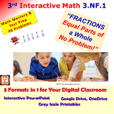 3.NF.1 Math Interactive Test Prep – Fractions: Equal Parts in 3 Formats