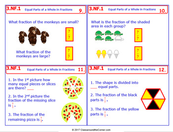 3.NF.1 Math NO PREP Task Cards— FRACTIONS: EQUAL PARTS OF A WHOLE