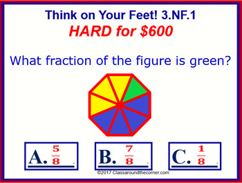 3.NF.1 THINK ON YOUR FEET MATH! Interactive Test Prep Game— FRACTIONS
