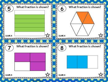 3.NF.1 Task Cards: Equal Parts, Fractions Task Cards 3.NF.1: 3rd Grade Fractions