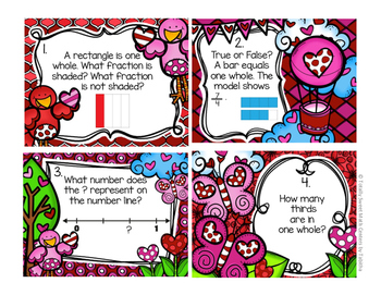 3.NF.1 Valentine Seat Scoot Class Activity- Understanding Fractions