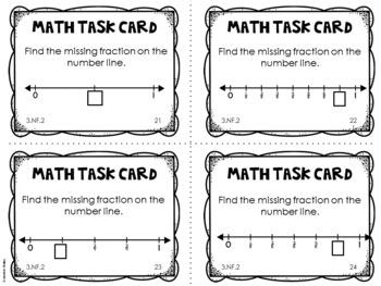 3.NF.2 3rd Grade Math Task Cards (Fractions on a Number Line)