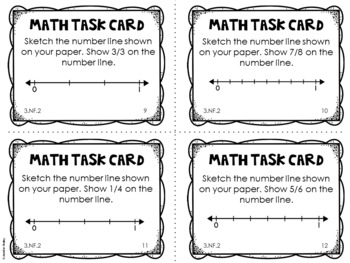 3.NF.2 3rd Grade Math Task Cards (Fractions on a Number Line)
