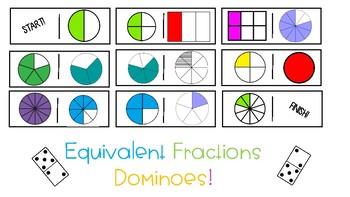 3.NF.3 Equivalent Fractions Dominoes {Models Only}