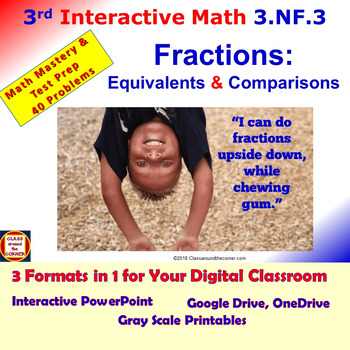 3.NF.3 Math Interactive Test Prep: Fractions-Equivalents/Comparisons - 3 Formats