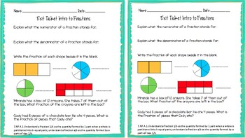 3.NF.A.1 Intro to Fractions Exit Ticket