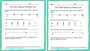 3.NF.A.2 Fractions on a Number Line Exit Ticket