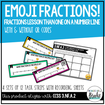 3.NF.A.2 Fractions on a Number Line Self-Checking Task Strips with/out QR Codes!