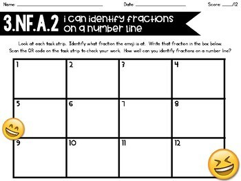 3.NF.A.2 Emoji Fractions on a Number Line Task Strips with/out QR Codes!