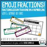 3.NF.A.2 Emoji Fractions on a Number Line Task Strips with