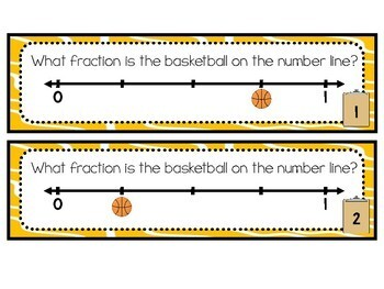 3.NF.A.2 Basketball Fractions on a Number Line Task Strips with/without QR Codes