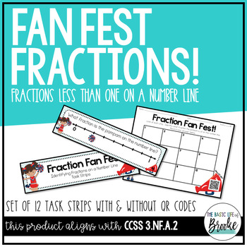 3.NF.A.2 Cheerleading Fractions on a NumberLine TaskStrips with/without QR Codes