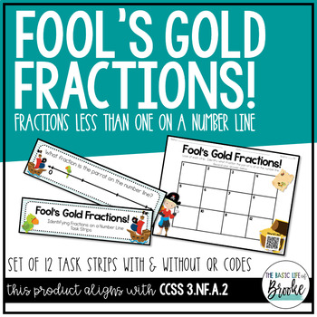 3.NF.A.2 Pirate Fractions on a Number Line Task Strips with/without QR Codes!