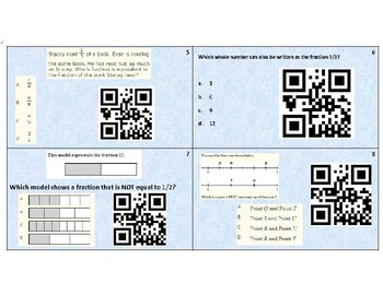 3.NF.A.3.C - equivalent fractions task cards with QR Code