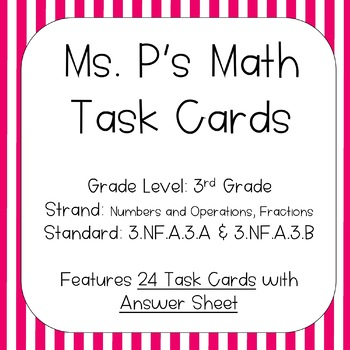 3.NF.A.3.C Whole Numbers and Fractions Task Cards