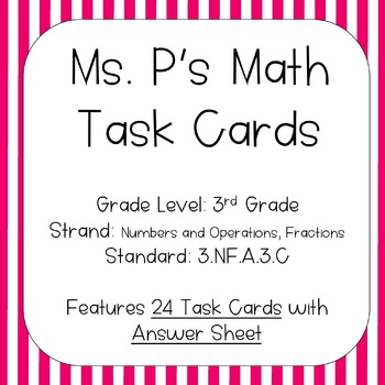 3.NF.A.3.D Comparing Fractions Task Cards