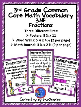 3.NF {CCSS MATH VOCABULARY POSTERS} {WORD WALL} {MATH JOURNALS}