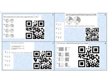 3.NF.a.3.d - Comparing fractions task cards with QR code.