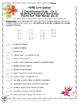 3 NGRE Classification Clues - Ch. 2, Ordering World, How Plants Named, p16-21