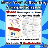 3 New Year's Reading Comprehension Passages: New Year's Paired Text + Audiobooks