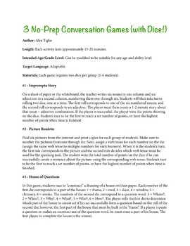 3 No-Prep Conversation Games (with Dice!)