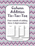 Column Addition Tic Tac Toe Game: Adding Three 2-digit Numbers