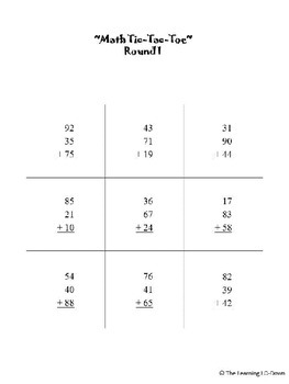 Column Addition Tic Tac Toe Game: Adding Three 2-digit Numbers