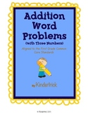 3 Number Addition Word Problems- Aligned to the Common Cor