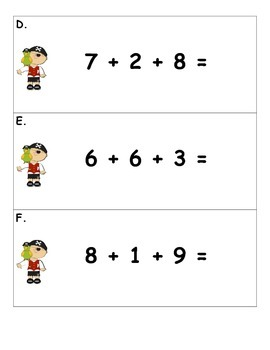 3 Number Addition 'Write the Room Like a Pirate'