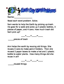 3 Number Word Problem-Earth Day Themed