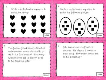 3.OA.1, 2 Operations and Algebraic Thinking Math Task Cards 3rd Grade