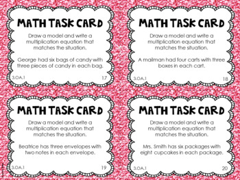 3.OA.1 3rd Grade Math Task Cards (Multiplication as Equal Groups)