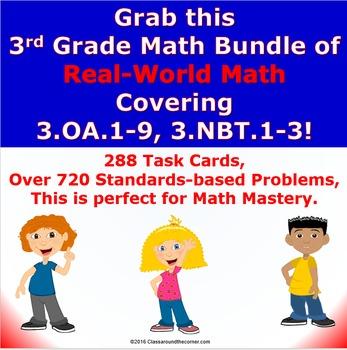 3.OA.1-9, 3.NBT.1-3  Math 3rd Grade NO PREP Task Cards— BU