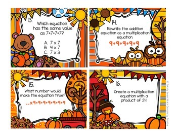 3.OA.1  Autumn Seat Scoot Class Activity- Interpreting products of whole numbers