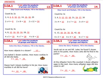 3.OA.1 Math 3rd Grade NO PREP Task Cards—FINDING PRODUCTS of GROUPS and OBJECTS