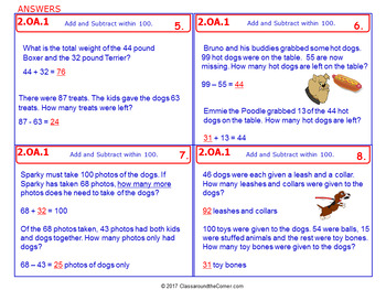 2.OA.1 Math NO PREP Task Cards— ADDING AND SUBTRACTING WITHIN 100