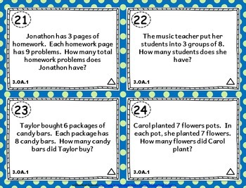3.OA.1 Task Cards: Interpret Multiplication Products Task Cards 3OA1: Grouping