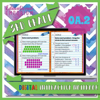 3.OA.2 Interactive Notebook: Interpret Division as Equal Groups⭐ Digital