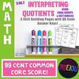 3.OA.2 Interpreting Quotients w/ QR Code Answer Key - 99¢
