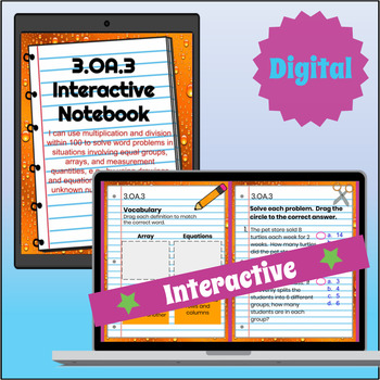 3.OA.3 Interactive Notebook: Multiplication & Division Word Problems⭐ Digital
