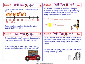 3.OA.3 Math 3rd Grade NO PREP Task Cards—Multiply or Divide within 100
