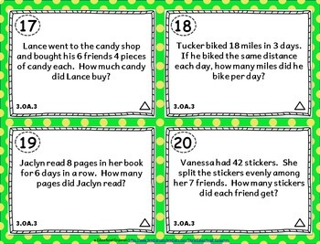 3.OA.3 Task Cards 3.OA.3: Multiplication & Division Strategies & Word Problems